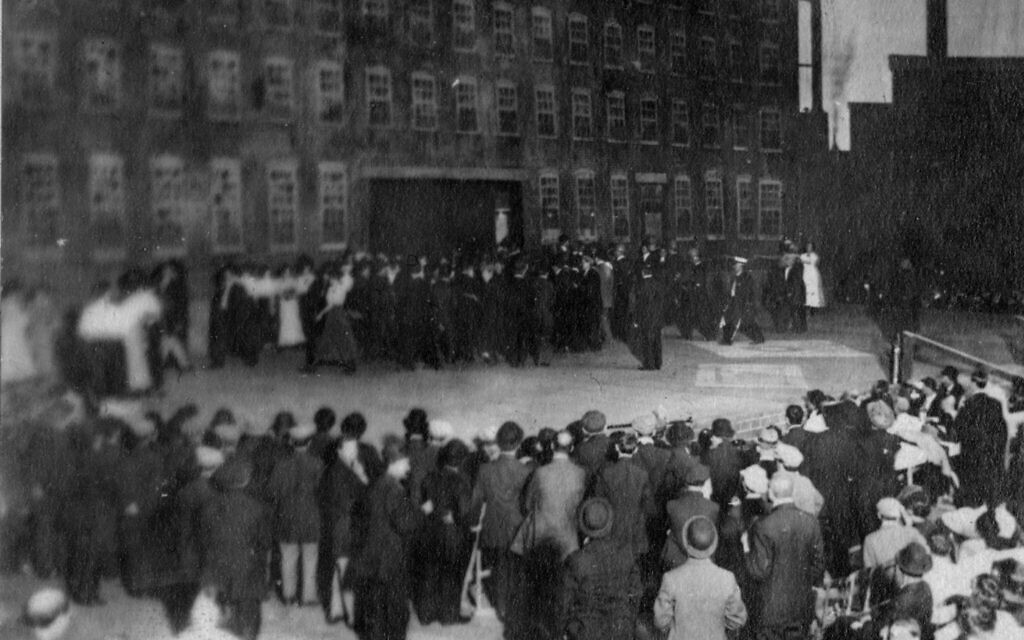 In 1913, more than 1,000 striking silk workers from Paterson, New Jersey marched to Madison Square Garden, where they put on a pageant about their strike written by John Reed. (Walter P. Reuther Library, Archives of Labor and Urban Affairs, Wayne State University)