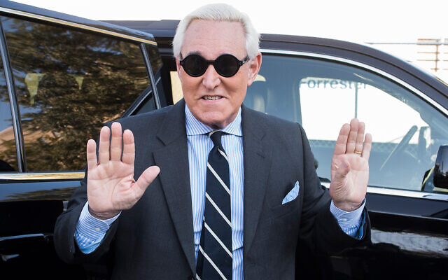 Roger Stone arrives at Federal Court for the second day of jury selection for his federal trial, in Washington, November 6, 2019. (AP Photo/Cliff Owen)