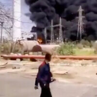 Image from a video said to show a fire caused by an explosion at a power plant in Ahvaz, Iran, on July 4, 2020. (Screenshot/Twitter)