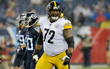 Pittsburgh Steelers offensive tackle Zach Banner (72) plays against the Tennessee Titans in Nashville, Tennessee, August 25, 2019. (AP Photo/Mark Zaleski)