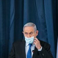 Prime Minister Benjamin Netanyahu at a weekly cabinet meeting at the Ministry of Foreign Affairs, Jerusalem, June 28, 2020. (Olivier Fitoussi/Flash90)