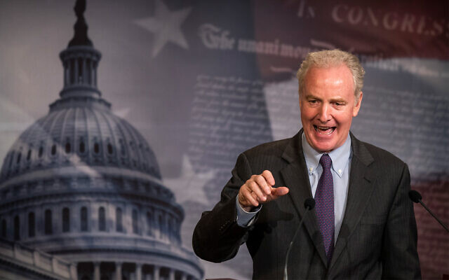 Senator Chris Van Hollen, a Maryland Democrat, speaks during a news conference on Capitol Hill in Washington, June 16, 2020. (AP Photo/Manuel Balce Ceneta)