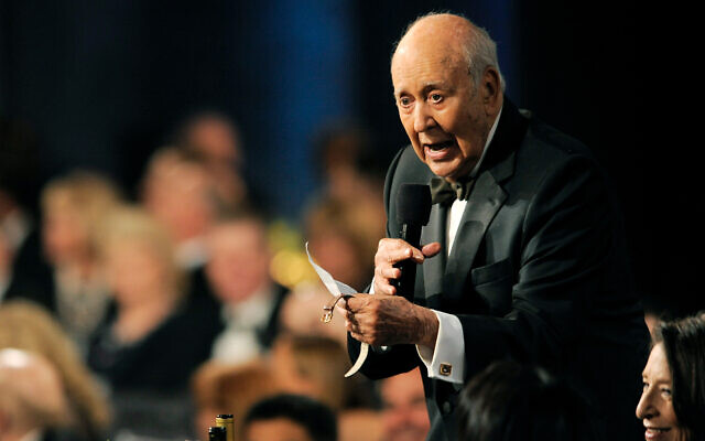 Carl Reiner performs a testimonial to honoree Mel Brooks at the American Film Institute's 41st Lifetime Achievement Award Gala at the Dolby Theatre in Los Angeles, June 6, 2013. (Chris Pizello/Invision/AP)