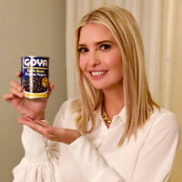 "This image taken from Ivanka Trump's Twitter account shows her holding a can of Goya beans along with the words ""If it's Goya, it has to be good"" written in English and Spanish. (Ivanka Trump's Twitter page via AP)"