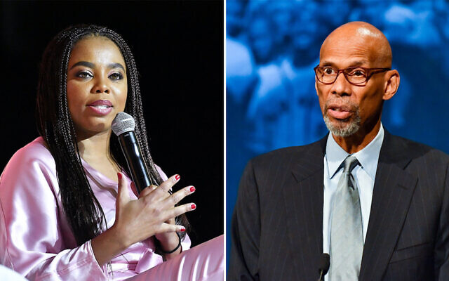 Composite images shows Jamele Hill, left, and Kareem Abdul-Jabbar, right. (Paras Griffin/Getty Images for ESSENCE; Sean Zanni/Patrick McMullan via Getty Images, JTA)
