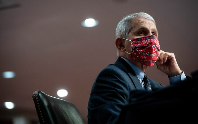 Director of the US National Institute of Allergy and Infectious Diseases Dr. Anthony Fauci wears a face covering as he listens during a Senate Health, Education, Labor and Pensions Committee hearing on Capitol Hill in Washington, June 30, 2020. (Al Drago/Pool via AP)