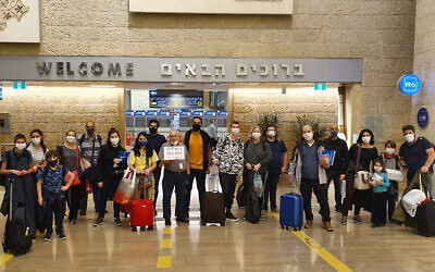A group of 23 Brazilians immigrated to Israel on a flight that went through Ethiopia in May 2020. (Olim do Brasil NGO via JTA)