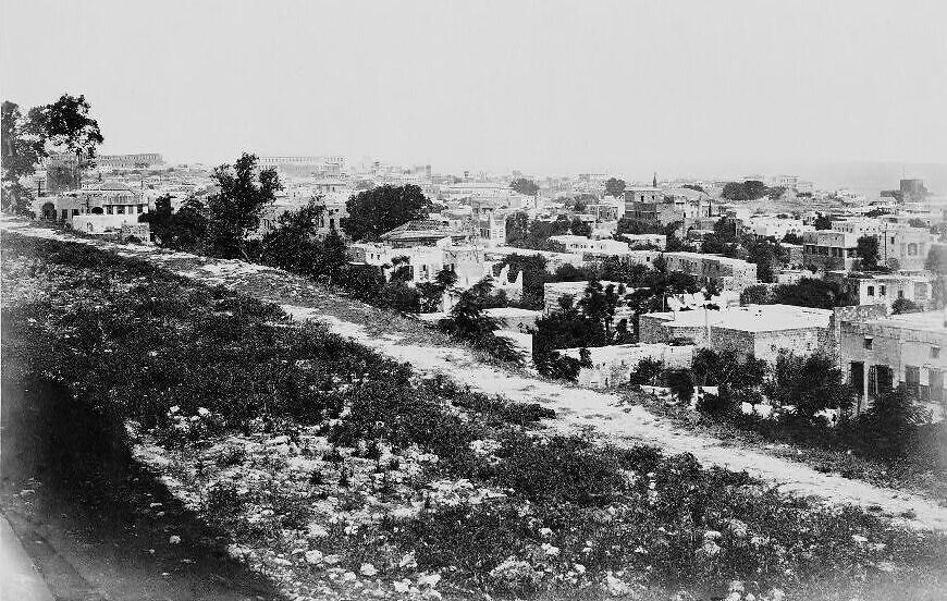 A view of Beirut from the quarantine area, taken circa 1860. (Library of Congress)