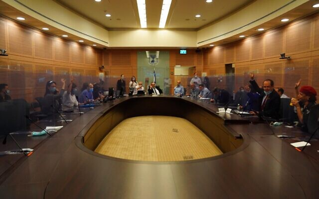 Members of the Knesset's Constitution, Law and Justice Committee vote on the Coronavirus Bill on July 22, 2020. (Knesset)