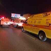 Magen David Adom ambulance at scene of a car accident in Bnei Brak on July 30, 2020. (MDA)