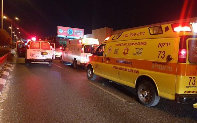 Magen David Adom ambulance at scene of a car accident in Bnei Brak on July 30, 2020. (MDA)