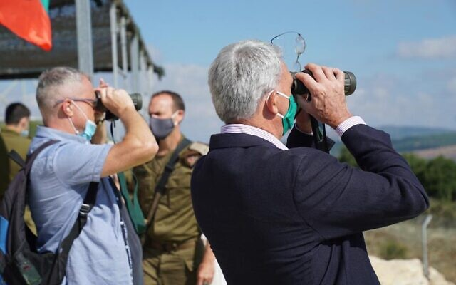 Foreign diplomats tour Israel's northern border with Lebanon amid calls from Israel to beef up the mandate of the UN peace keeping force UNIFIL, July 10, 2020 (IDF Spokesperson)