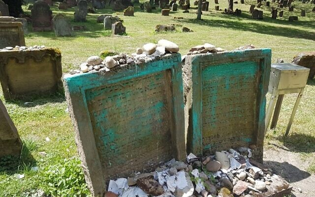 Vandalized gravestones at the medieval Jewish cemetery in the German city of Worms. (City of Worms website via JTA)
