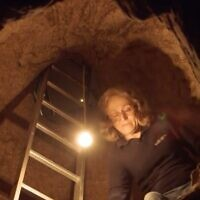 IAA archaeologist Yardenna Alexandre in an underground system of rooms under ancient Nazareth. (Screenshot)