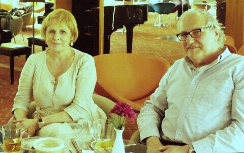Nazi hunter Efraim Zuroff, right, and Lithuanian journalist Ruta Vanagaite in Jerusalem in this undated photo. (Courtesy)
