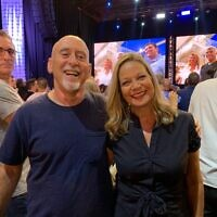 Prof. Alon Tal (left) with Blue and White lawmaker Miiki Haimovich at the Tel Aviv port on election night, September 17, 2020. (Courtesy Alon Tal)