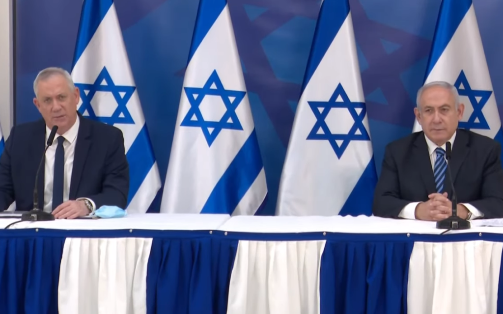Defense Minister Benny Gantz (left) and Prime Minister Benjamin Netanyahu at a press briefing following an incident on the Israel-Lebanon border in which Israel said it thwarted a Hezbollah attack, July 27, 2020 (screenshot)