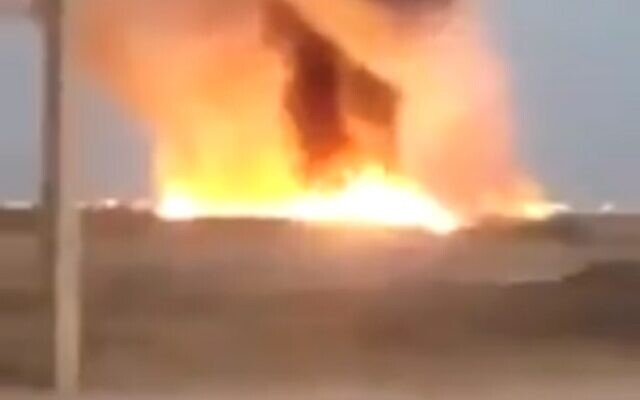 Footage from a reported blast in an oil pipeline in southern Iran, on July 18, 2020 (video screenshot)