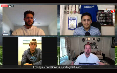 Jewish football players participate in an online conversation July 12, 2013. Clockwise from upper left: Anthony Firkser, conversation organizer Michael Neuman, Geoff Schwartz and Greg Joseph. (Screenshot from virtual event)