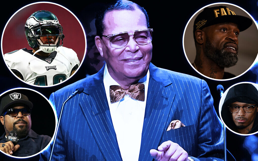 Louis Farrakhan, center, surrounded by, clockwise from top left, DeSean Jackson, Stephen Jackson, Nick Cannon and Ice Cube. (Getty Images)