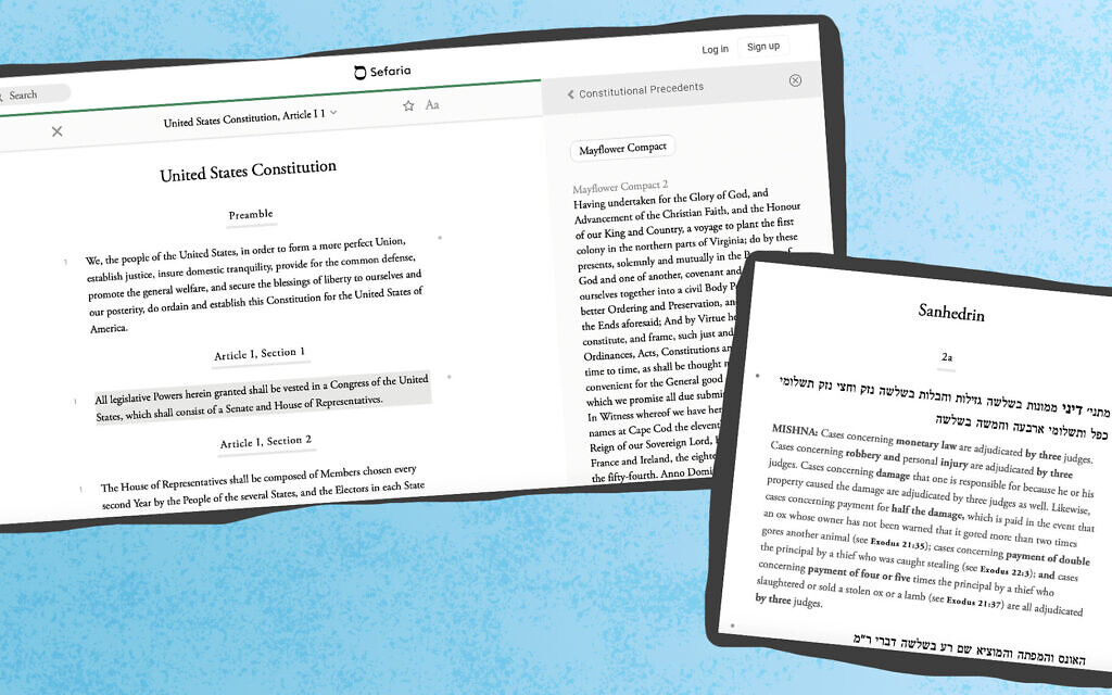 Brett Lockspeiser, a co-founder of Sefaria, hopes to apply the database's approach highlighting the interconnections between texts to other bodies of knowledge. (Screenshots from Sefaria/ via JTA)