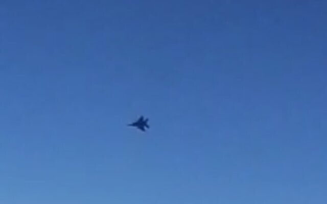 Video shared by Iran's IRIB news agency claims to show a fighter jet menacing a Mahan Air flight over Syria, July 23, 2020. (Screen capture: IRIB)