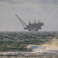 A view of the Leviathan natural gas gas processing rig from Dor Habonim Beach Nature Reserve, January 1, 2020.  (Flash90)