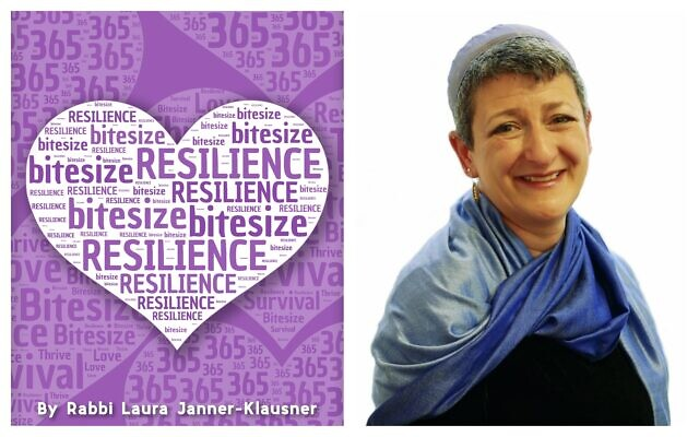 Left, cover of 'Bitesize Resilience,' by author Rabbi Laura Janner-Klausner, right, October 2015; (Courtesy)