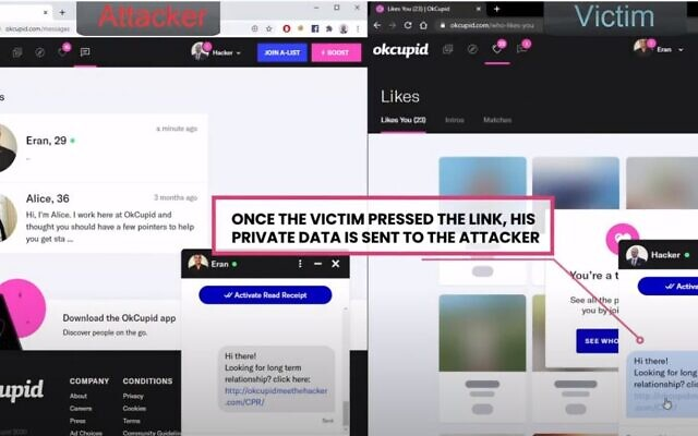 Check Point researchers find vulnerabilities in OkCupid dating app (YouTube screenshot)