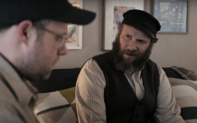 "Seth Rogen plays an early 20th-century immigrant in the US, right, and a modern day person, left, in ""An American Pickle."" (Screen capture: YouTube via JTA)"