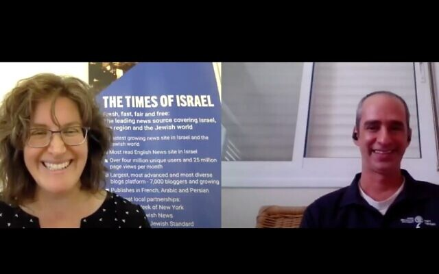 ToI Archaeology editor Amanda Borschel-Dan (left) in conversation with Israel Antiquities Authority's Joe Uziel about the physical evidence of the two major destructions of ancient Jerusalem. (screenshot)