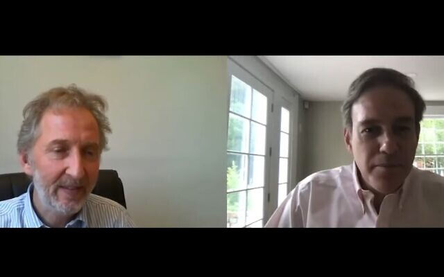 "Times of Israel founding editor David Horovitz, left, interviews New York Times op-ed columnist Bret Stephens in the inaugural installment of the ""Behind the Headlines"" online video series, July 23, 2020. (Screenshot)"