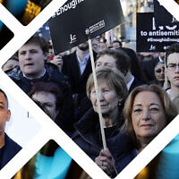 Rapper Wiley, left inset, has British Jews up in arms after an hours-long anti-Semitic Twitter storm. (Ian West/PA via AP). Center inset, British Jews protest anti-Semitism in Britain's Labour Party, March 2018.  (AFP PHOTO / Tolga AKMEN). Background, Twitter logo.  (AP/Richard Drew)