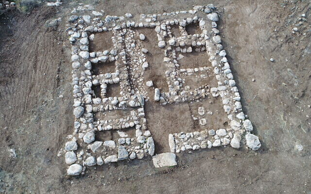 A 3,200-year-old citadel unearthed near Guvrin Stream and Kibbutz Gal On, August 2020. (Emil Aladjem/Israel Antiquities Authority)