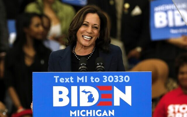 Illustrative: California Senator Kamala Harris endorses Democratic presidential candidate Joe Biden during a campaign rally at Renaissance High School in Detroit, Michigan, on March 9, 2020. (Jeff Kowalsky/AFP)