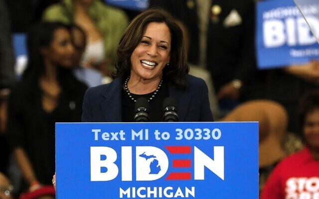 Illustrative: California Senator Kamala Harris endorses Democratic presidential candidate Joe Biden during a campaign rally at Renaissance High School in Detroit, Michigan, on March 9, 2020. (Jeff Kowalsky/AFP)