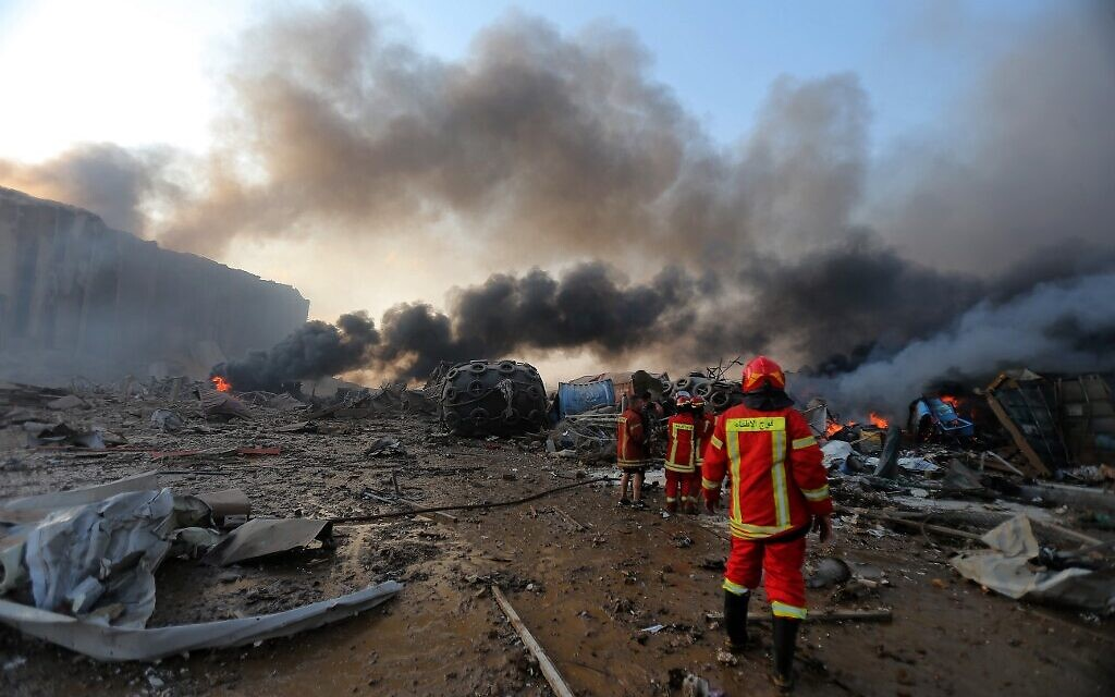 A picture shows the scene of an explosion at the port in the Lebanese capital Beirut on August 4, 2020. (STR / AFP)