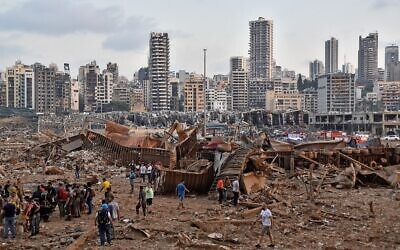 A picture shows the scene of an explosion near the the port in the Lebanese capital Beirut on August 4, 2020. (by STR / AFP)