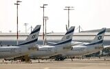 El Al planes on the tarmac at Ben Gurion Airport on August 3, 2020. (Jack Guez/ AFP)