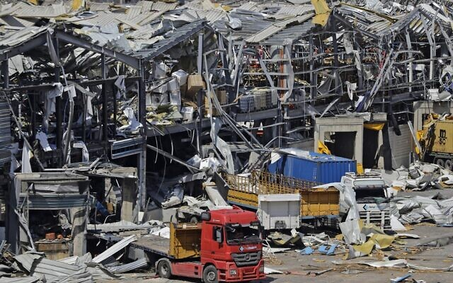 A picture shows the destruction at Beirut's port on August 10, 2020 following a huge chemical explosion that devastated large parts of the Lebanese capital and claimed over 150 lives. (JOSEPH EID / AFP)
