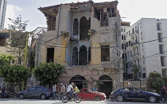 A heavily-damaged traditional Lebanese house due to the Beirut port explosion, in the devastated Gemmayzeh neighborhood across from the port, August 11, 2020. (JOSEPH EID / AFP)