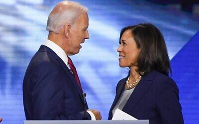 Former Vice President Joe Biden and Senator Kamala Harris speak on September 12, 2020, in Houston, Texas (Robyn Beck / AFP)