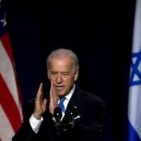 Then-US Vice President Joe Biden gestures during a speech in Tel Aviv, March 11, 2010. (DAVID FURST/AFP)