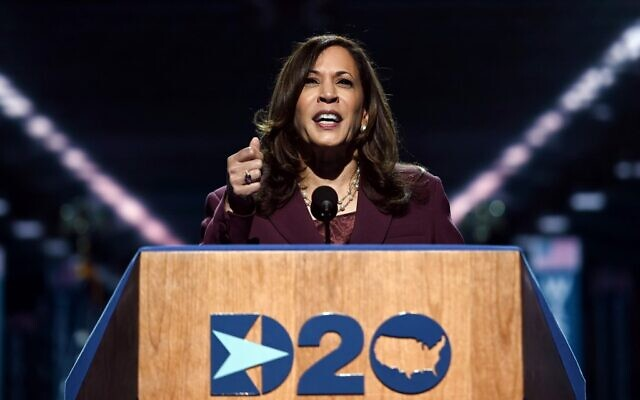 Senator from California and Democratic vice presidential nominee Kamala Harris speaks during the third day of the Democratic National Convention, being held virtually amid the novel coronavirus pandemic, at the Chase Center in Wilmington, Delaware on August 19, 2020. (Olivier DOULIERY / AFP)