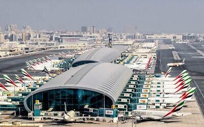 Emirates aircraft, parked on the tarmac at Dubai International Airport, July 8, 2020. (KARIM SAHIB / AFP)