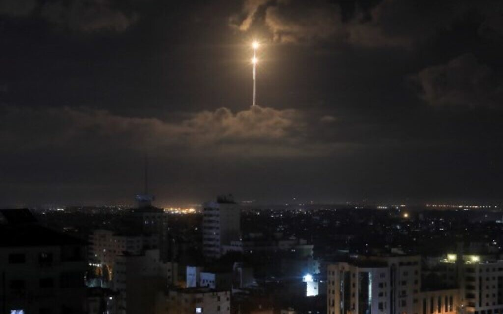 The Iron Dome anti-missile system fires interception missiles seen in the sky in the early morning of August 21, 2020. (MAHMUD HAMS / AFP)