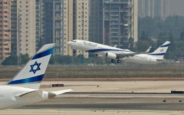 A picture taken on August 31, 2020, shows the El Al's airliner, which will carry a US-Israeli delegation to the UAE following a normalization accord, lifting off from the tarmac in the first-ever commercial flight from Israel to the UAE at Ben Gurion Airport near Tel Aviv. (JACK GUEZ / AFP)