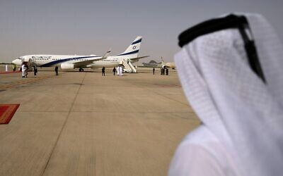 El Al's airliner, carrying a US-Israeli delegation to the UAE, landing on the tarmac at the Abu Dhabi airport, August 31, 2020. (Karim SAHIB / AFP)
