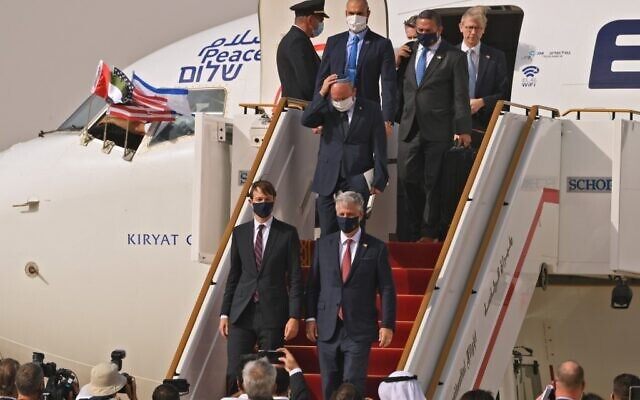 US Presidential Adviser Jared Kushner (left) and US National Security Adviser Robert O'Brien () disembark from the the El Al's airliner, which is carrying a US-Israeli delegation to the UAE following a normalization accord, upon landing on the tarmac on August 31, 2020, in the first-ever commercial flight from Israel to the UAE at the Abu Dhabi airport. Behind them is Israeli National Security Adviser Meir Ben Shabbat. (Karim SAHIB / AFP)