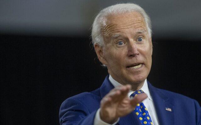 Former US vice president Joe Biden delivers a speech in Wilmington, Delaware, on July 28, 2020. (Mark Makela/Getty Images/AFP)